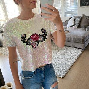 Zara sequin crop top